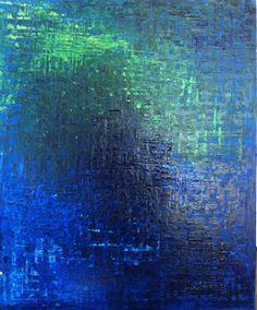 Ocean Blue, Abstract Ocean Art, Sapphire Blue Painting, Beach Art, Ocean Painting in Oil on Canvas - Deep Blue Ocean. Moss ,lime Green. via Etsy