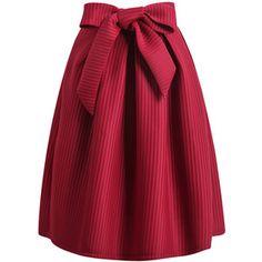 SheIn(sheinside) Wine Red Bow Vertical Stripe Skirt