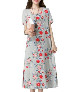 Casual Women Floral Printed Dress Pullover Short Sleeves Pockets Dresses - Banggood Mobile