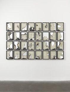 Douglas Gordon, Burnt Scores (2011), K.364 music score, mirror, 54 1/8 × 84 5/16 in