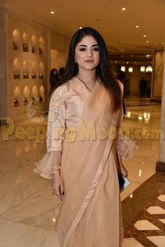 Zaira Wasim at an event Bollywood Celebrities, Bollywood Actress, Zaira Wasim, Aiman Khan, Saree Blouse, Party Wear, Zara, Actresses, How To Wear