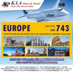 Tour to Europe, Start fom USD 743. info click www.kiatravels.com