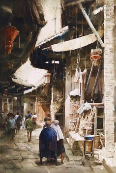 watercolor by Xie Ming CHANG (b. 1955, Taiwan)