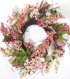 #Spring Inspirations - Pink Berry Mini Wreath 17'' -- Spring Inspirations at Joann.com