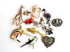 Vintage Animal Brooch Lot Instant Collection Figural Flamingo