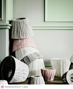 Pleated lamp shades in light grey, pink and white- Ikea Decor, Home Decor Inspiration, Pink Living Room, Ikea, Coffee Table Inspiration, Girl Room, House Interior, Inspiration, Interior Inspo