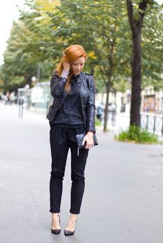 Red hair, black outfit