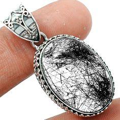Black Rutile 925 Sterling Silver Pendant Jewelry BRUP833