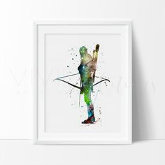 Lord of the Rings Legolas Watercolor Art Print Wall Decor. Affordable handmade nursery art prints that compliment any style nursery project you have in mind.