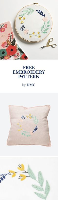 FREE EMBROIDERY PATTERN from DMC.  | Embroidery ideas, embroidery for beginners, embroidery stitches, embroidery patterns.