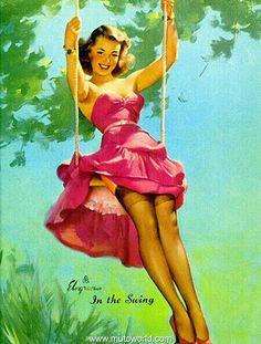 Let's share the world of fantasy: Vintage Pin-Up girls Illustrations Gil Elvgren Pin Up Vintage, Retro Pin Up, Vintage Art, Vintage Glamour, Retro Style, Gil Elvgren, Pin Up Girls, Estilo Pin Up, Pinup Art