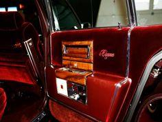1980 Cadillac Fleetwood Brougham read door interior, red velour/leather