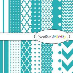 Digital Scrapbooking Paper Pack – Teal Blue paper in stripes, chevron, polka dot, and quatrefoil – instant download – CU OK