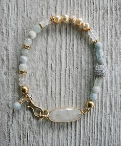 The Corbin Bracelet - Moonstone Aquamarine Rhinestones Gold-bracelet, strung, 14kt. gold fill, moonstone, aquamarine, rhinestone, sweet, luminous, gift, holiday, tippy stockton