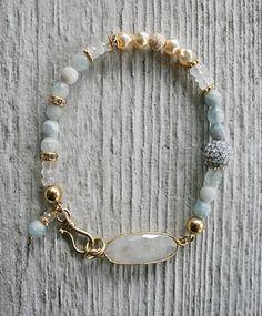The Corbin Bracelet - Moonstone Aquamarine Rhinestones Gold-bracelet, strung, 14kt. gold fill, moonstone, aquamarine, rhinestone, sweet, luminous, gift, holiday, tippy stockton