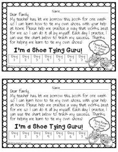 Fluttering Through First Grade: Shoe Tying Take Home Freebie - edit to exclude book First Grade Homework, Kindergarten First Week, First Grade Classroom, Kindergarten Classroom, School Classroom, Classroom Ideas, Beginning Of The School Year, First Day Of School, Back To School