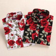 Végső!  Brand virágos blúzok Cotton ingek Női Vintage lehajtott gallér Tops Blusas Női ruházat hosszú ujjú blúz (Kína (szárazföld))