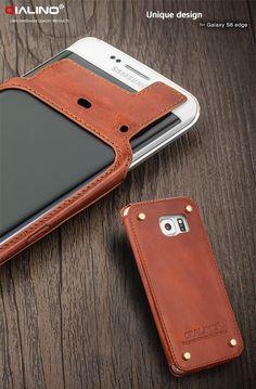 2015 Projeto Original QIALINO Genuine Leather case Telefone para Samsung galáxia S6 borda Rebite Design em Volta proteger o telefone e couro em Casos enquadrados de Celulares & Telecomunicações no AliExpress.com | Alibaba Group