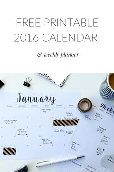 Love the calligraphy on this calendar! // FREE Printable Calendar 2016 & Printable Weekly Planner Minimalist/Monochrome Style