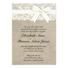 White Lace Look Rustic Burlap Wedding Invitation