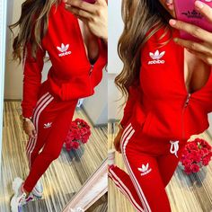 Bright pink and black set , zip and hoodie top - STUDIO Sporty Outfits, Classy Outfits, Cool Outfits, Fashion Outfits, Red Tracksuit, Adidas Tracksuit, Red And White Adidas, Red And White Outfits, Adidas Outfit