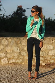 love this outfit! Turquoise leather coat! What a fun color for a cold weather look!