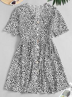 Buy Leopard Button Up Pocket Smock Dress in the online store - TopTrendBrand Tee Dress, Smock Dress, Long Sleeve Midi Dress, Short Sleeve Dresses, Short Sleeves, Corduroy Pinafore Dress, Cute Casual Dresses, Pretty Dresses, Tie Dye Fashion