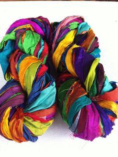 Sari silk ribbon, 50g, craft ribbon, fair trade, Multicoloured silk ribbon.