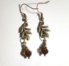 Jewelry Earrings Brown Crystal Leaf Earrings by SpiritCatDesigns