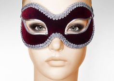 Burgundy And Silver Masquerade Mask    by SOFFITTA