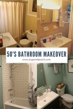 Remodel of a 1950's Yellow tile bathroom! We brought it into 2016 with subway tile and HGTV Home Sherwin Williams Celadon Pottery. Gotta love the coastal accents too.