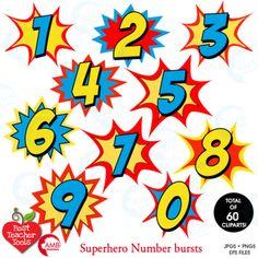 Superhero Clipart Numbers Clipart, Bursts, Numbers Vectors