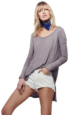 So-soft drippy thermal in a yummy textured stretch fabric. Swing silhouette with subtle high-low hem and side vents. Raw seams and wide ribbed cuffs. Free People Thermal, Free People Tops, Free People Clothing, Long Sleeve Tunic, Autumn Winter Fashion, What To Wear, High Low, Sweaters For Women, My Style