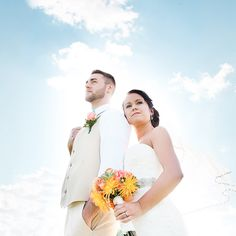 Love the Sky Backdrop for this Wedding Day Photo / by Morgan Lindsay Photography / as seen on www.BrendasWeddingBlog.com