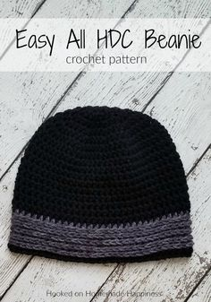 Easy All HDC Beanie Crochet Pattern - The Easy All HDC Beanie Crochet Pattern is just that. easy & all HDC! I think half double crochet is my favorite basic stitch. There are just so many ways you can make it textured and interesting. Mens Beanie Crochet Pattern, Beanie Pattern Free, Easy Crochet Hat, Crochet Beanie Hat, Crochet For Boys, Crochet Patterns, Free Pattern, Hat Patterns, Knit Hats