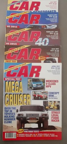 5 Randomly Selected, Vintage CAR Magazine's in the Magazines category was listed for on 20 Feb at by TomHarvey in Vereeniging Car Magazine, Vintage Magazines, Vintage Cars, The Selection, Antique Cars, Vintage Journals, Retro Cars