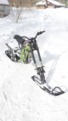Snowbike kit for the Surron X electric motorcycle from SNOWBIKE LLC. No equivalent in the world. Easy to install on the Surron family of motorcycles. No special skills or tools required. The kit turns the Surron into a lightweight snowmobile. You will be able to use your Surron in winter on snow up to 50 cm deep. Get new emotions from your bike. Bike, Snow, Winter, Motorcycles, Electric, Deep, Tools, Easy, Bicycle