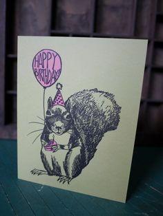 Squirrel Balloon Happy Birthday Letterpress Card by RatbeePress