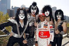 Lewis Hamilton with rock band KISS Kiss Band, Stevenage, The Championship, Lewis Hamilton, Rock Bands, New York, Punk, Celebrities, Boys