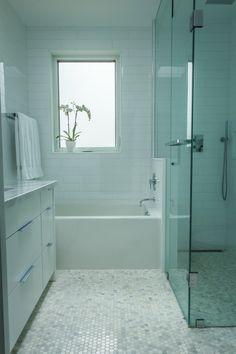 Hex marble floors. Big glass shower. Meg & Steve's Urban Nest