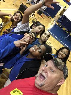#selfie of my buddy Steve McGranahan with fans bending steel at school in Allentown, PA