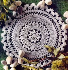 Crochet Knitting Handicraft: lace tablecloth