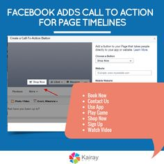 Facebook Adds Call to Action Buttons on Facebook Page Timelines http://www.kairaymedia.com/blog/facebook-adds-call-action-buttons-facebook-page-timelines/  Page admins: Have you seen this rolled out on your page yet?