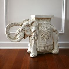 White Elephant Table/Plant Stand. Global interior Design. Bohemian. Reminds me of the one my great grandma has