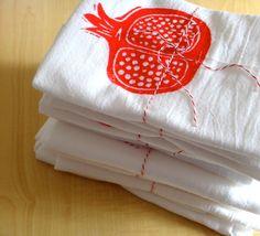 Pomegranate - Soft Cotton Flour Sack Towel - Hand Screen Printed, via Etsy.