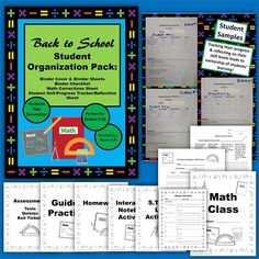 Start your math students off right...and give them ownership of their learning, progress, and organization! I've revamped these tools over the years, and now they're ready to share with you. These resources would be great for grade 5-12 math students. The photos of student samples were part of my Master Teacher evidence, and I was so happy to reach Master Teacher status in the state of Ohio. For evaluations, my principal was impressed with my students' tracking their own progress.