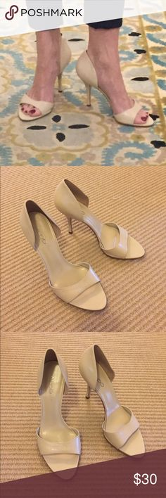 Aldo Cream White  D'Orsay Heels Beautiful 3 1/2 inch cream colored D'Orsay heels. They show some ware  they're too big for me now but I love them they look amazing with everything from jeans to a ballgown. Aldo Shoes Heels