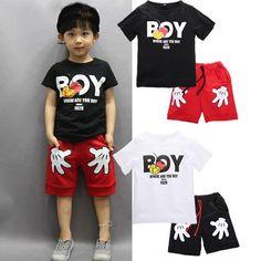 Toddler Boy Cartoon Clothes Sets Short Sleeve Shirt & Shorts Set