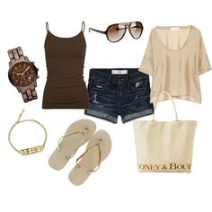 Brown & Nude, created by pbmhuck.polyvore.com-i have all the  pieces for this already just hanging out in my closet ha!
