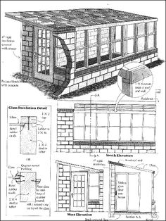 Free Solar Greenhouse Plans Blueprints for a DIY Lean-to Greenhouse Utilizing Passive and Active Heating Techniques fro http://www.hobby-greenhouse.com/FreeSolar.html